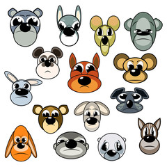 Muzzle Animal Set. Vector image of animals heads. Expressed offensive emotions.