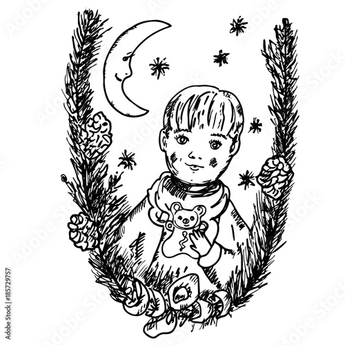 lovely christmas card with fir tree branches moon and little boy