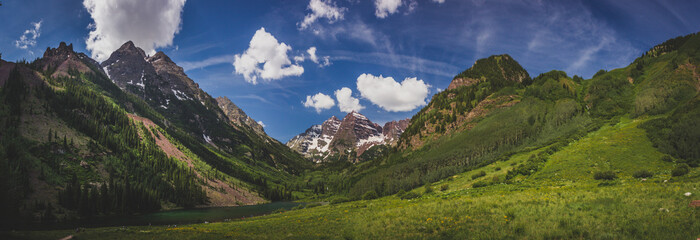 Maroon Lake and Maroon Bells Panorama