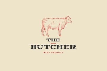 Vintage logo butcher shop with picture of cow. Engraving label with sample text. Vector Illustration.