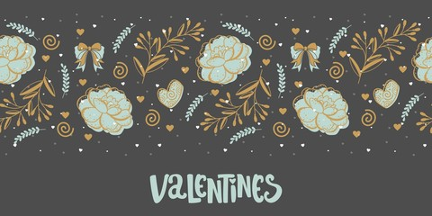 Valentine's day banner with the words and pictures. Perfect for any advertising. Vector illustration.