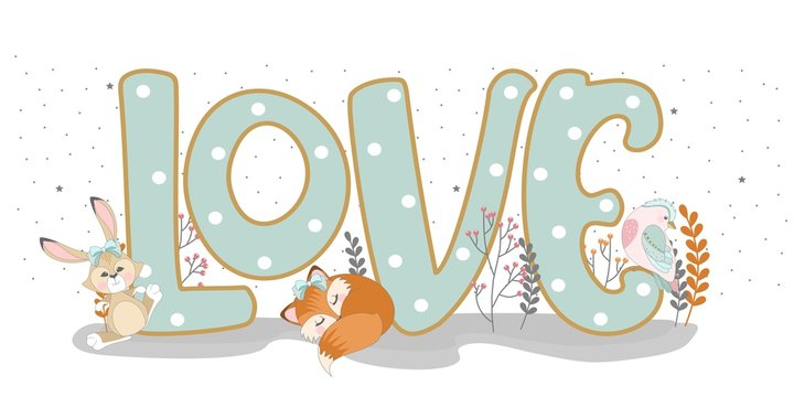 The word Love with funny animals. The romantic elements. Inscription. Vector illustration.