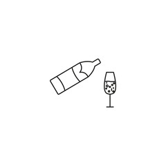 Champagne bottle explosion with cheering glasses symbol sign line icon on background
