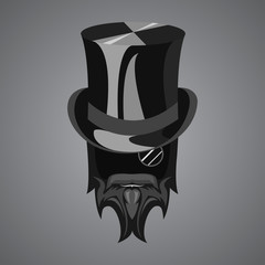 Stylized bearded head with top hat and monocle