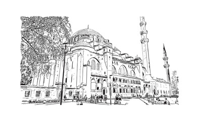 Hand drawn sketch of Hagia Sophia Istanbul, Turkey in vector illustration.