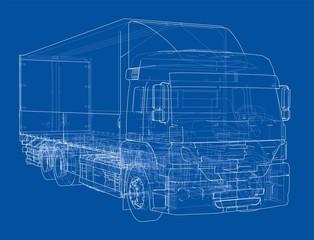 European truck outlined vector