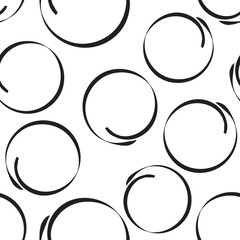 Hand drawn scribble circles seamless pattern background. Business flat vector illustration. Circles sign symbol pattern.