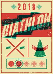 Biathlon typographical vintage grunge style poster. Retro vector illustration.