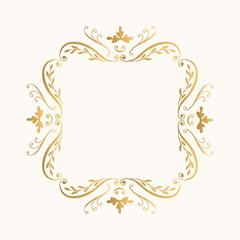 Golden flourish frame. Glitter vector border.
