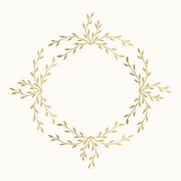 Golden leaf  vector frame. Fancy wreath.