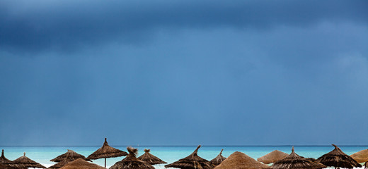 Sea shore with beach umbrellas is under a blue sky