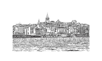 Hand drawn sketch of The Bosphorus Istanbul, Turkey in vector illustration.