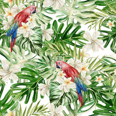 Beautiful watercolor seamless, tropical jungle floral pattern background with palm leaves, flower hibiscus, parrot.