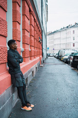 Sportive black man on street