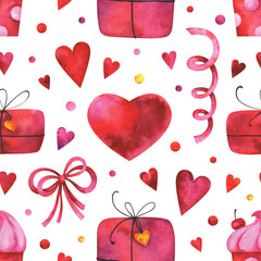 Hand painted watercolor seamless pattern with hearts, gift boxes, cake, bow, garlands on white background. Can be use in Valentine's day design, posters, invitations, cards