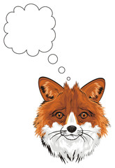 fox, tricky, animal, illustration. cartoon, portrait, orange, fur, zoo, muzzle, sign, clean, callout, think