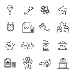 tax icon line silhouette vector set