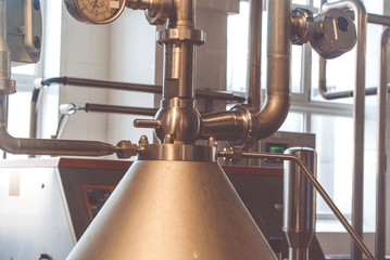 Metal cone, pipes, manometers. Element the device the food-processing industry.