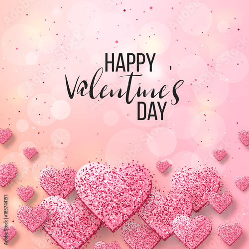 Saint valentine day background with colorful hearts with frame ...