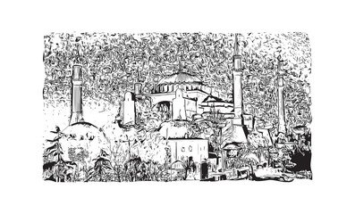 Hand drawn sketch of Istanbul, Turkey in vector illustration.