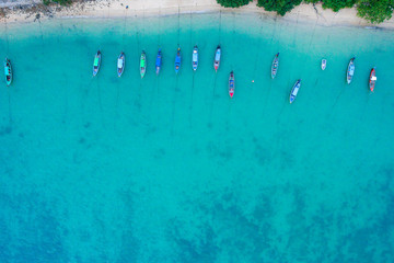 Tuinposter Luchtfoto Aerial view of the beach with long tail boat