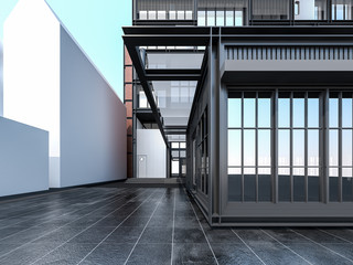 Main Entrance of Industrial Apartment , 3d rendering