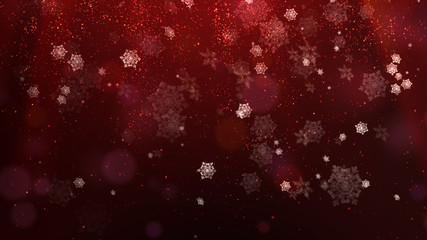 Red Christmas Background with flowing snow flakes and digital particles