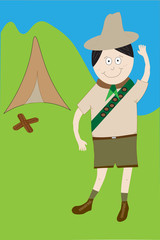 Illustrated cartoon boy scout