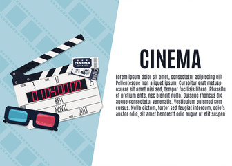 Movie clapper board, tickets and video glasses. Template for banner, flyer or poster. Vector illustration