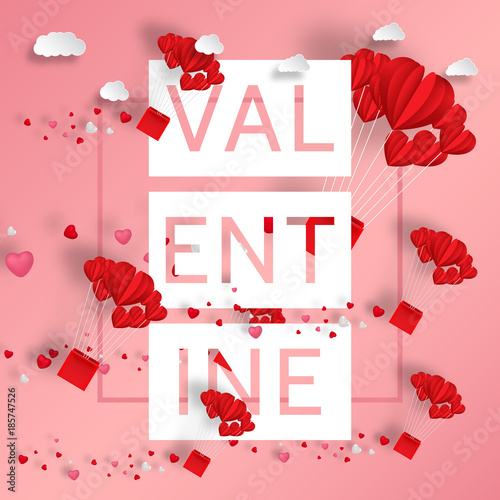 Valentine\'s day abstract background with pink paper hearts ...