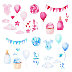 Watercolor baby shower set. Its a boy or girl theme with balloons, baby clothes and cupcake. For design, print or background