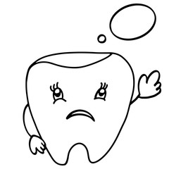 Unhappy tooth with bubble. Cute cartoon tooth character. Concept dental illustration for medical articles, dental sites, clinic, banners, advertising, prints, posters, logos.