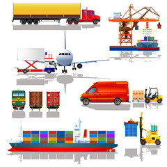 Freight cargo transport icons set