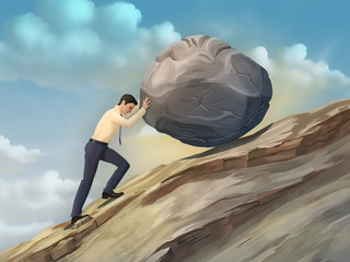 Businessman pushing a boulder
