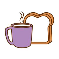 delicious coffee cup with slice bread vector illustration design
