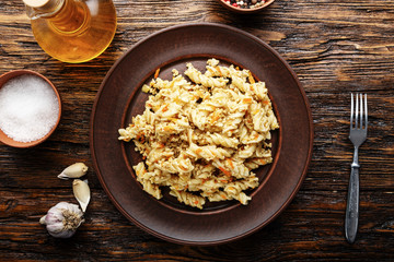 nautically pasta on the wooden background