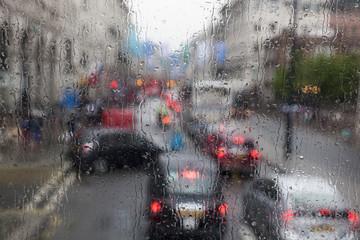 Traffic jam on rainy weather in London