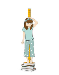 the girl is measuring her height. vector illustration.
