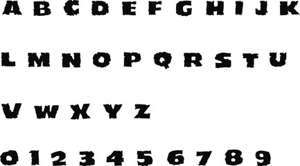 Horror Font - Vector alphabet and numbers