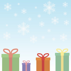 gifts in boxes with ribbons on snowflakes background