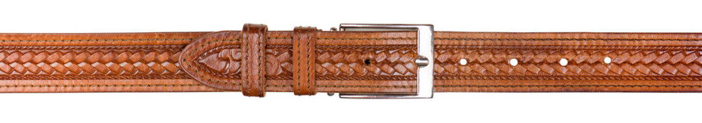 Male trouser belt made of genuine leather isolated on white