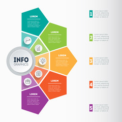Vector infographic of technology or education process. Business presentation concept with 5 options. Web Template of a info graphics, chart, diagram on light background. Part of the report.