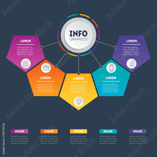 Vector infographics with 5 parts of technology or education vector infographics with 5 parts of technology or education processes template of a chart ccuart Choice Image