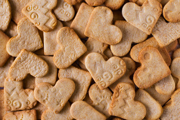 Texture, pattern of some shape hearts cookies, valentines love theme
