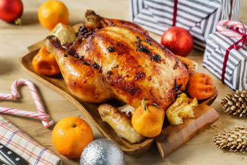 roasted chicken on Christmas table