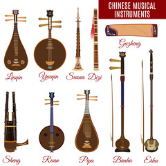 Vector set of chinese musical instruments, flat style.