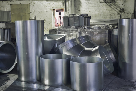Rolls of steel sheet or iron tubed, industrial production of ventilation pipes