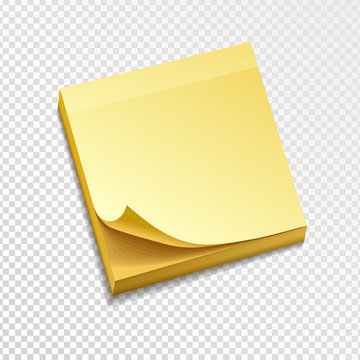 isolated yellow sticky note pack. Paper curled corner. Template for your message. Vector illustration. Isolated on transparent background.