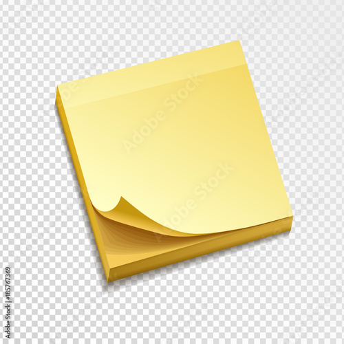 isolated yellow sticky note pack. Paper curled corner. Template for ...