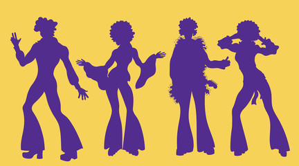Soul Party Time. Dancers of soul silhouette funk or disco.People in 1980s, eighties style clothes dancing disco, cartoon vector illustration isolated on yellow.Men and women in 80s style clothing